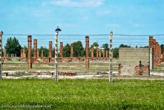 Auschwitz - Birkenau - Auschwitz - Birkenau German Nazi Concentration and Extermination Camp (1940-1945): The brick chimneys are all that remain of the wooden...