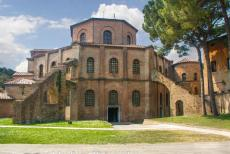 Early Christian Monuments of Ravenna - Early Christian Monuments of Ravenna: The Basilica of San Vitale., the ceiling of the apse is adorned with Byzantine mosaics in green and gold....