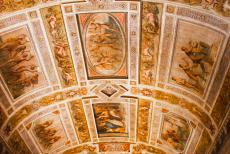 Ferrara, City of the Renaissance - Ferrara, City of the Renaissance: The ceiling frescoes in the Hall of Games of the Estense Castle. The barrel ceiling is divided in eleven...