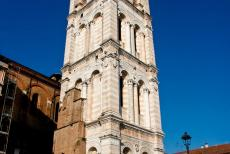 Ferrara, City of the Renaissance - Ferrara, City of the Renaissance, and its Po Delta: The imposing bell tower of Ferrara Cathedral was built of white and pink marble from...