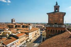 Ferrara, City of the Renaissance - One of the four towers of the Estense Castle, the ducal residence of the d'Este family. The House of Este ruled the city of Ferrara...