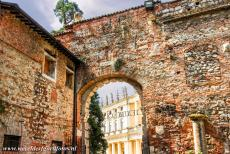 Vicenza and the Palladian Villas of the Veneto - City of Vicenza and the Palladian Villas of the Veneto: The entrance gate of the Teatro Olimpico viewed from the courtyard. The Palazzo...