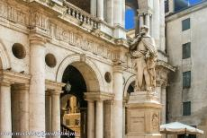 Vicenza and the Palladian Villas of the Veneto - The statue of the Italian architect Andrea Palladio in front of the Basilica Palladiana in the city of Vicenza. Andrea Palladio is regarded...