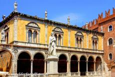City of Verona - City of Verona: The Piazza dei Signori and the statue of Dante, facing the Palazzo del Capitano, once the home of the military commanders of...