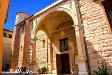 City of Verona - City of Verona: The porch of the San Lorenzo, the church was rebuilt after a heavy earthquake in 1117. The church represents...