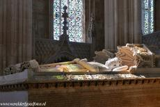 Monastery of Batalha - Monastery of Batalha: The sun shines through the glass-stained windows of the Founder's Chapel, the chapel is bathed in...
